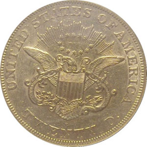 1866- S No Motto(reverse). 1866-S Gold $20 Double Eagle Type 1 No Motto from The Arlington Collection of Type 1 Double Eagles