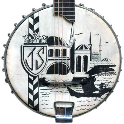 ca. 1912 Dayton Guitar Banjo with a Venetian scene on the skin head