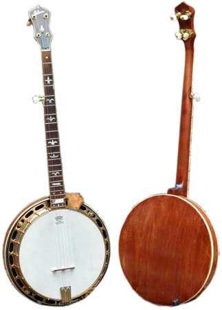 "Lowell Levinger's 1933 Gibson RB-1 ""Mastertone"" banjo was stolen in 1966 and recovered in 2009."