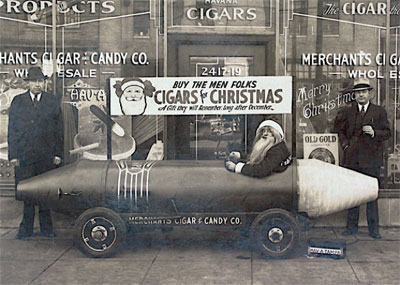 A giant Christmas cigar car by the Merchants Cigar and Candy Co. of Fort Lauderdale, Florida, in the late 1930s.