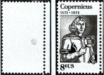 Type 9: The black ink which comprises the engraved portion of this issue, is totally missing from the stamp at left (Scott 1488b). The normal U.S. 1973 8¢ Copernicus stamp is shown at right (Scott 1488).