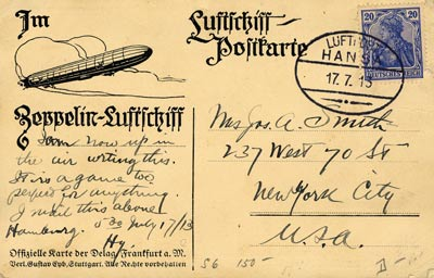 This postcard flew aboard the Airship Hansa's 1913 flight from Hamburg to the United States.