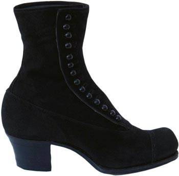 A black suede button boot, typical of the style in 1910.