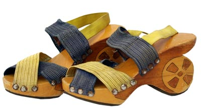 During World War II, shoe manufacturers in Europe and the U.S. turned to wood and woven fabrics due to the lack of leather.