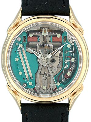 The transparent dial of the 1961 Bulova Accutron Spaceview exposed its revolutionary tuning-fork movement.