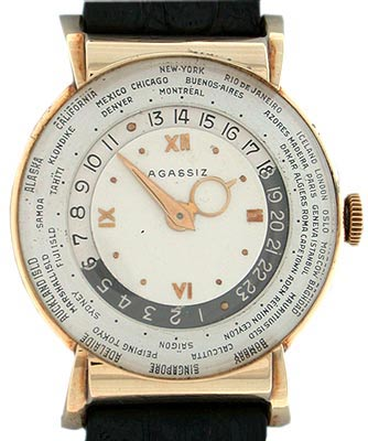 Louis Cottier, the Geneva watchmaker who made this 14k world time wristwatch for Agassiz in 1945, produced only 13 watches per year.