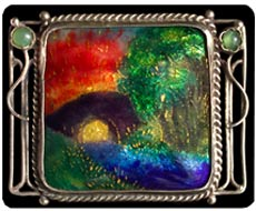 Enamel landscape brooch by George Hunt, a second-generation British Arts & Crafts jeweler. Photo courtesy Tadema Gallery, London.