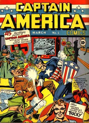Jack Kirby and Joe Simon's Captain America gives Hitler a hard sock in the kisser in issue #1, which hit newsstands in December of 1940.