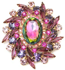 07350ecf91e A green watermelon stone anchors the heart of this circa-1960 Juliana brooch,  which