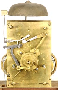 A tall case clock movement by William Cummens, Roxbury, Mass, circa 1810.