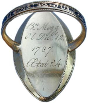 This gold ring from 1787 features an enameled band and a dedication to two people.