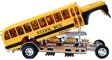 Model collector George Vretta likes to build his show rods as close to the box art as possible. He used a super-fine black Sharpie to detail the window frames of this 1970 S'Cool Bus.