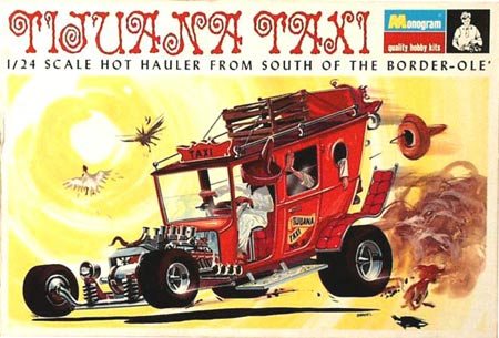 Tom Daniel drew all the box art for his cars. His Tijuana Taxi is from 1969.