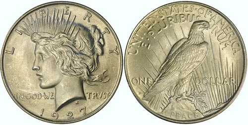 A well struck Peace dollar shows good relief and lots of detail.