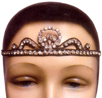 Headache bands, such as this Art Deco, rhinestone tiara from the 1920s, were perfect for night out in a speakeasy.