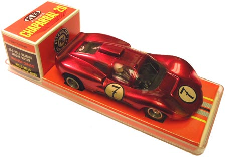 This K&B Chaparral 2D slot car was powered by a Mabuchi FT26 motor and featured metallic-red paint.