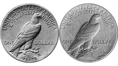 The coin's approved reverse (left) featured a broken sword, which outraged some veterans. The coin's original model is on the right.