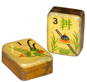 Hollow tin tiles were an inexpensive choice for mahjong players in the 1920s, when the game was at its height in the U.S.