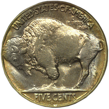 1937-D three-legged Buffalo Nickel reverse
