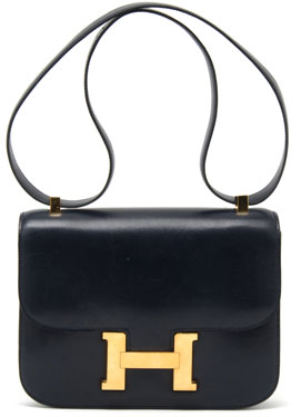 4a10c8cfbe0c The Hermes Constance (this one is from 1976) was made of navy-blue leather  with a matching shoulder strap
