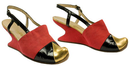 Red suede wedge mules designed by Salvatore Ferragamo, 1940, Italy