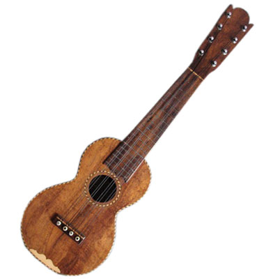 "Manuel Nunes Taropatch: circa 1910, 8 strings, all koa wood, ornamented with ""rope"" binding, concert size body.  Very rare."