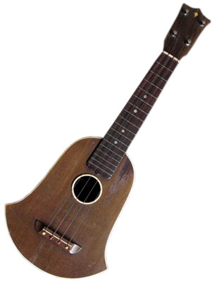 "Washburn/Lyon & Healy Bell-shape uke; circa 1927, mahogany body and neck, rosewood fretboard, ""smiley""pin bridge, raised bakelite sound hole ring, ""kite"" in headstock.  Slightly larger than soprano size in body volume."