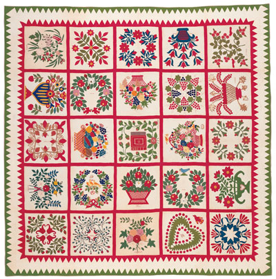 Cotton applique album quilt made by members of Old Otterbein Church, Baltimore, MD,  1854.  Bequest of Henry Francis du Pont.