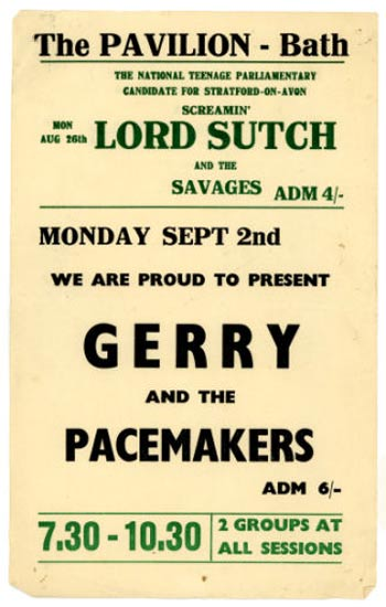 The Bath music scene in the summer of 1963 included Screamin' Lord Sutch and the Savages one week, Gerry and the Pacemakers the next.