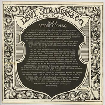 In the late 1960s, Mouse Studios designed this sleeve for a series of Levi's commercials recorded by Jefferson Airplane.