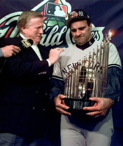 Steinbrenner with manager Joe Torre celebrating the 1996 World Series title.