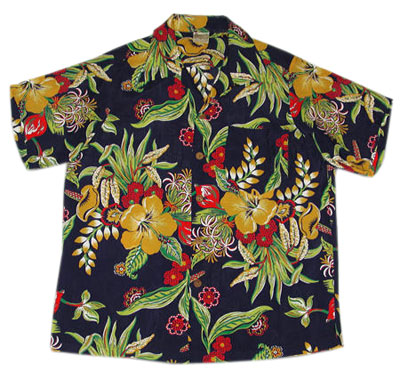 The motifs on aloha shirts, such as this one from the 1950s, frequently incorporated tropical, Hawaiian images on black. Photo: Camille Shaheen Tunberg.