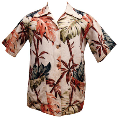 Wong's Drapery of Hawaii used remnants of heavy cotton barkcloth fabric to make aloha shirts such as this one from 1948. From the CTAHR Historic Costume Collection, University of Hawaii.