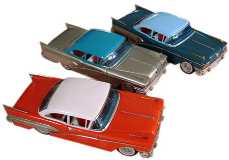 The 1958 ATC friction-powered Buick measured 14 inches long, featured lots of chrome, and came in even more colors than the ones shown here.