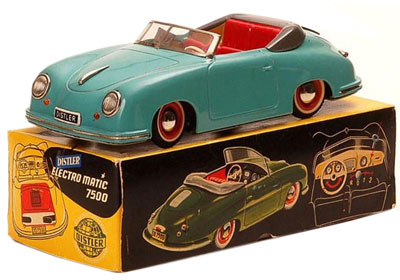This vintage Distler Porsche was made in Germany after the war. Today, Distler toys are produced in China.