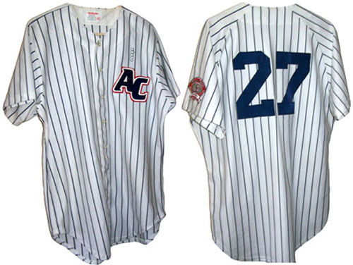 This is the jersey worn, and later autographed, by Derek Jeter when he played for the Albany-Colonie Yankees in 1994. Bloomer has received numerous offers for the jersey, but doesn't intend to sell it.