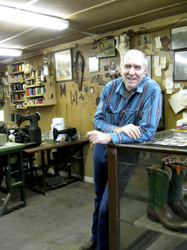 The man himself, Alan Bell, at his shop in Abilene.
