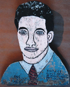 """Youth of Elvis Presley,"" circa 1977, by Rev. Howard Finster (1916- 2001)."