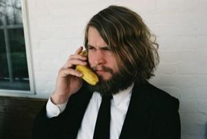 Ben Blackwell takes a call on his analog banana phone.