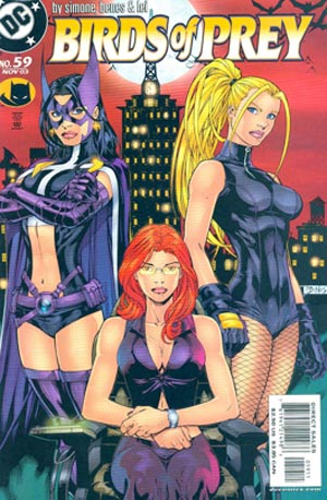 "A trio of highly sexualized heroes—Huntress, Oracle, and Black Canary—share the cover of ""Birds of Prey,"" #59, in 2003."