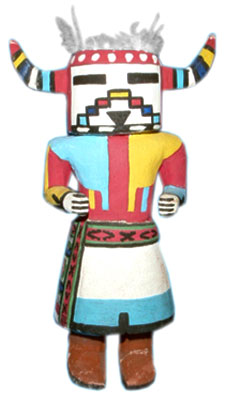 A Konina or Havasupai katsina by Jimmie K, from the 1950s. Although it is not signed, the doll has all his signature features: a squat body (like Jimmie's), rectangular feet, and painted hands.
