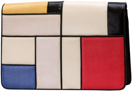 A Piet Mondrian painting inspired Leiber's multi-colored Karung Envelope from 1990.