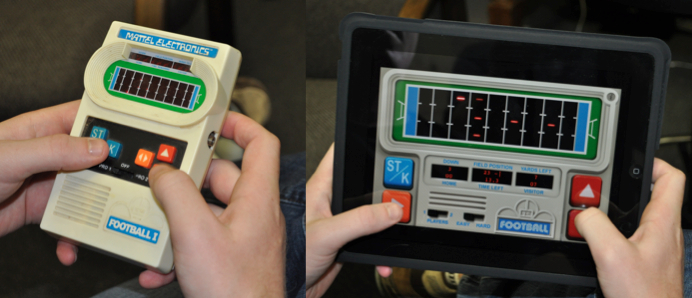 LED Football (right) is the App version of Mattel's Football I (left) from the 1970s.