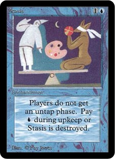 """Stasis"" Magic card, art by Fay Jones."