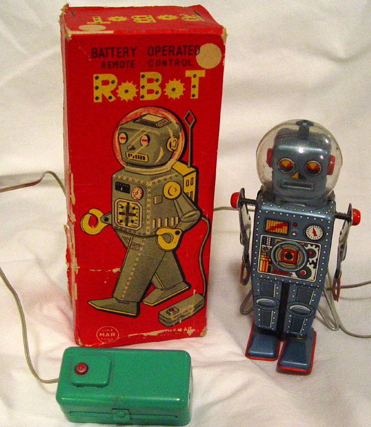 "Many toy robots were sold simply as ""Robot,"" so collectors have taken to giving them names. This one is known as a ""Domed Easel Back."""