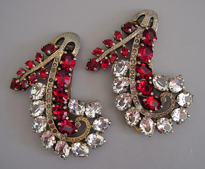 A matched set of dress clips, such as this one from about 1940, is difficult to find.