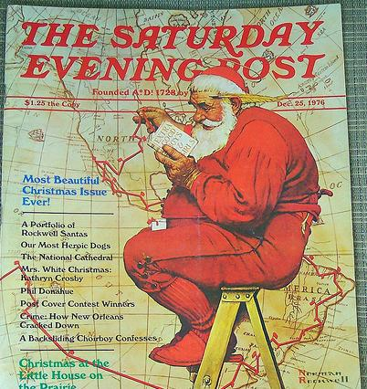 "Santa on the front of ""The Saturday Evening Post."""