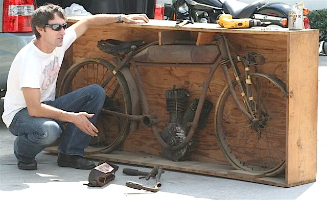 Mike has never restored his 1913 Indian Racer, but he has uncrated it.