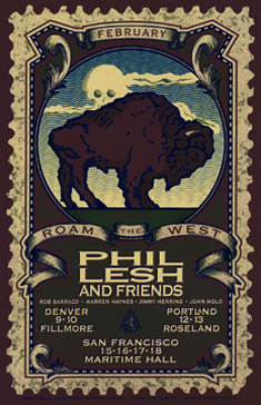 This poster for a series of concerts by the Grateful Dead's Phil Lesh draws from both U.S. stamps and coins.