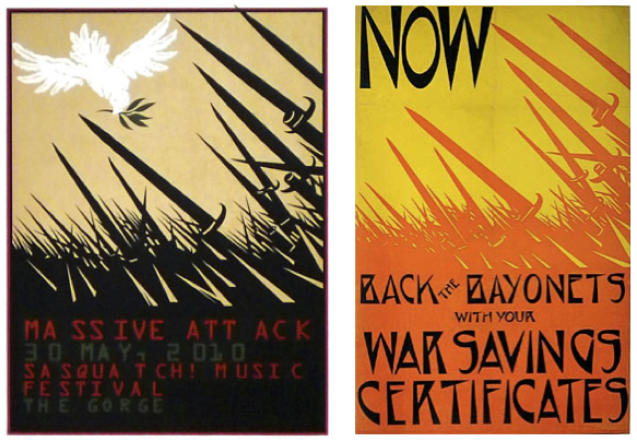 Houston's poster for Massive Attack (left) is based on a World War I image (right).
